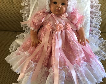 Pink Net Tulle Embroidered Daisy DRESS for REBORN Doll or Newborn BABY