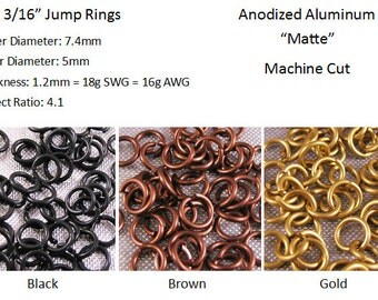 18g 3/16 inch Jump Rings Matte Neutral Colors