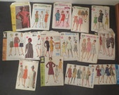 Vintage 1960's Sewing Patterns Lot of 15 WOMENS Simplicity McCalls Butterick #1 Cut and Uncut Different sizes