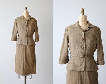Vintage 1940s Dress / Dress and Jacket Two Piece Set / Swiss Dot