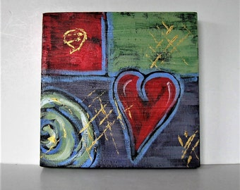 "Original acrylic red heart painting on canvas, Abstract wall decor, 12"" x 12"", Valentine art, green and purple, red and gold, gift idea"