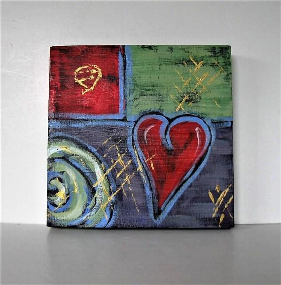 Items similar to Original acrylic red heart