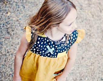 Girls Mustard 100% Linen and Abstract Modern Print Cotton Dress/ Tunic. Sizes 12 months to 8 years.