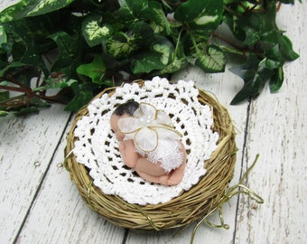 2.5 inch Polymer Clay OOAK Baby in Nest
