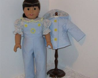 "Blue Jacket and Overalls Set, Fits 18"" Dolls // AG Hooded Jacket, American Girl Overalls, AG Blue Coat, Doll Jacket, American Girl"