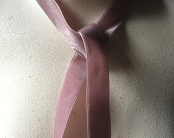 2 yds. Mauve Pink Velvet Ribbon 22mm made in Switzerland for Bridal, Millinery, Garments, Bouquets VL
