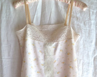 Peach Chemise/ Slip/ Short Nightgown in Vintage Floral Rayon and Alencon Lace Size Small