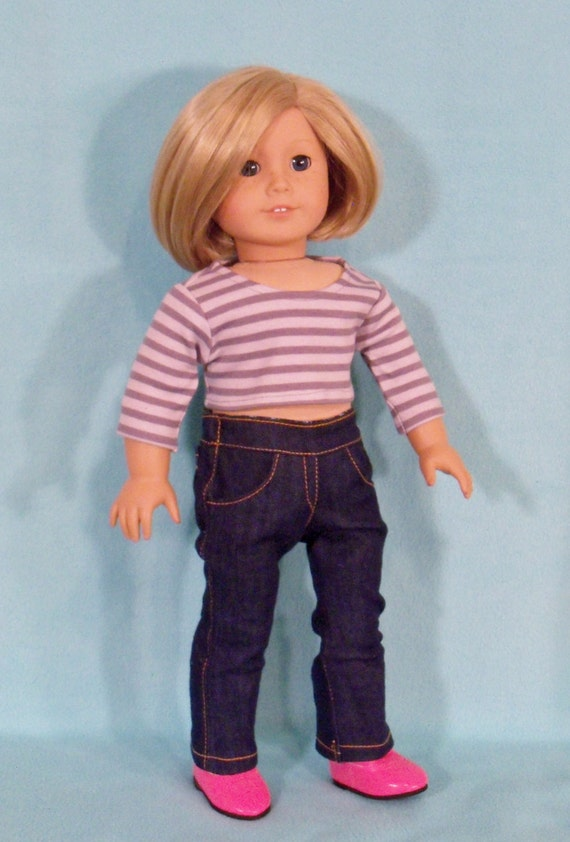 American Made 18 inch Doll Denim Boot Cut Jeans fits American Girl Dolls