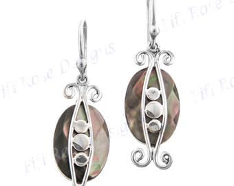 """7/8"""" Black Mother Of Pearl Shell 925 Sterling Silver Earrings"""