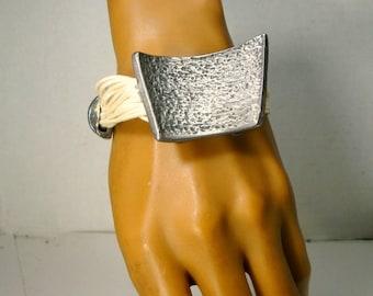 Dark Silver & Cream Multiple Cord Bracelet, Modernist Geometric Minimalist Design, From Turkey 1980s,  Industrial Punk Bracelet