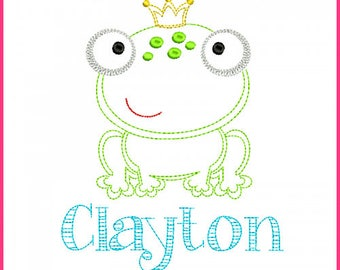 Little Frog Prince Colorwork Sketch Embroidery Design 4x4 5x7 6x10 Machine Embroidery Design