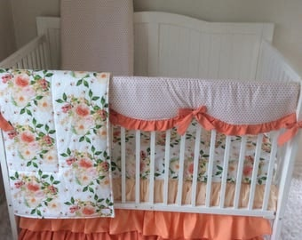 Baby Girl Crib Bedding Shades of Peach and Coral Ruffled Floral