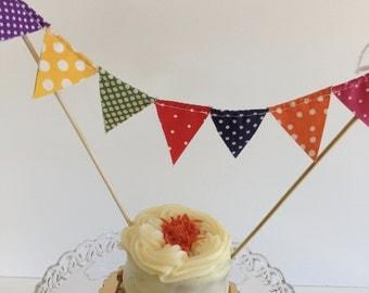 DOTTED CAKE BANNER--Polka Dot Fabric Cake Topper--Party Banner--Cake Garland--Cake Topper Flags--Primary Color Bunting--Spring Polka Dots