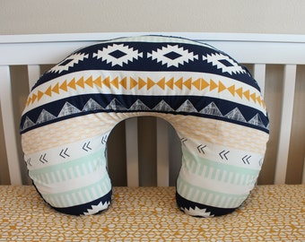 Arid Horizon Boppy Cover - Nursing Pillow Cover in Aztec/Tribal Navy, Mint and Mustard for Modern Baby Boy