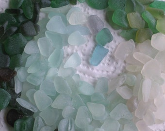205 Sea Glass Shards Imperfections Art Mosaic Craft Supplies (1937)