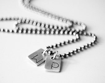 Minimalist Dog Tag Necklace - Two Tags Personalized with Initials