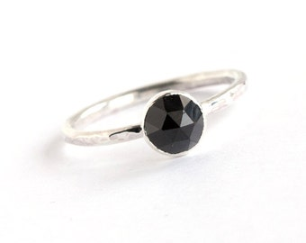 Plumeria - Rose Cut Black Spinel and Sterling Silver Ring