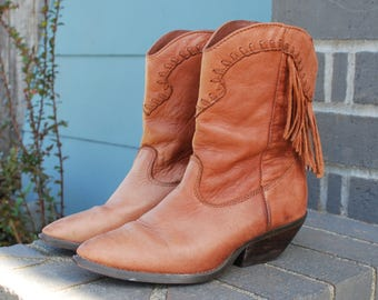 Vintage Brown Leather Western Ankle Boots With Fringe