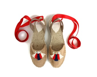 Espadrille Sandals. Jute Espadrilles with Tassels. Summer Leather and Fabric Shoes. Women's Sandals. Greek Sandals.