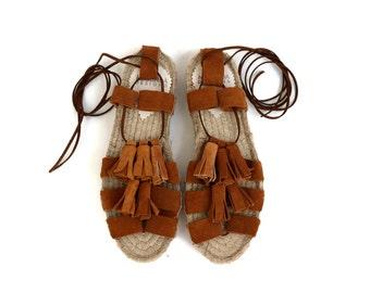 Espadrille Sandals. Suede Espadrilles with Tassels. Open Toe Summer Suede Shoes. Women's Sandals. Greek Sandals. -Ayita-