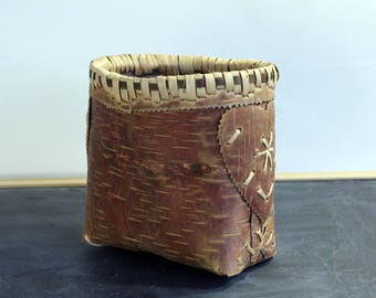 Antique Vintage Birch Bark Basket freestanding no lid heart decorated