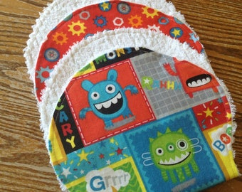 Flannel Burp Cloths, Chenille Back, Monsters, Bright, Boy, ready to ship