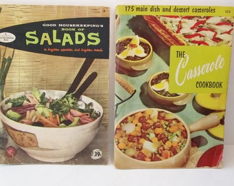 """Vintage 1950's Cookbook Set, Good Housekeeping """"Salads"""",  Culinary Arts """"Casserole"""" Cookbook, Retro Soft Cover Books, Meal Recipes, How To"""