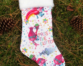 Trolls Pass the Glitter  Christmas stocking with white fur top quilted and lined