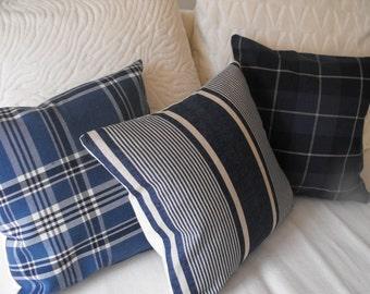 set of 3 mix n match plaid   pillow covers  Ralph Lauren fabric beach cottage