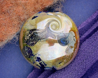 """Lampwork Beads SRA """"Orion"""" Handmade Dichroic Glass Focal Bead Lentil Fine Silver Lustre ~ One of a Kind"""