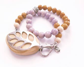 Bella Beat Urban Accessory - bellabeat double stack bracelet Amethyst and Lavender Agate .925 sterling silver charm and hammered beads