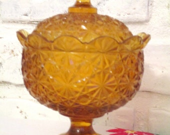 Vintage Amber Depression Glass Lidded Footed Pedestal Bowl Candy Dish Daisy and Button