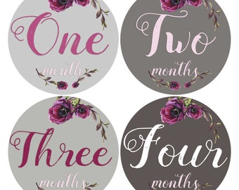 Baby Girl Monthly Stickers 1-12 Month Stickers Girl Month Age Labels Baby Belly  stickers Lavender Grey Purple Floral Baby Growth Keepsakes