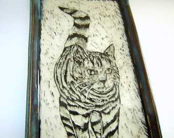 Tabby Cat Tray – Serving Platter – Sushi Plate – Mens Valet Tray – Kitchen Dish – Sgraffito Pottery – Black and White – Wedding Gift