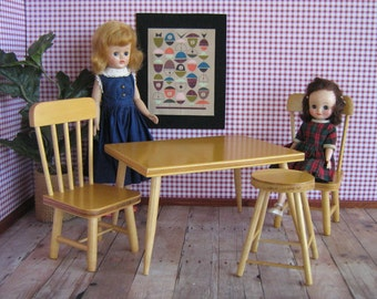 Vintage Hall's Lifetime Toys -  Modern Blond Kitchen Set For 8 to 13 Inch Dolls