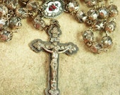 Reserved for Reno Antique European Rosary Italy baroque crucifix enamel sacred heart silver filigree czech glass beads medieval rosary