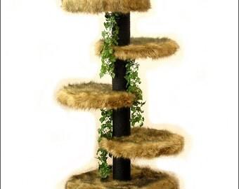 SENIOR CAT TREE 4' High Glenwood, Best Cat Bed, Designer Cat Tree, Elegant Cat Condo, Unique Cat Furniture, Kitty Senior Tree 3F1B2L
