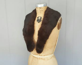 Dark brown Fur Collar / vintage / rabbit / snap buttons