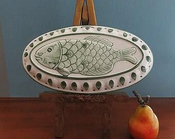 Ceramic Fish Mold Wall Decor Hand Painted Italy Vintage 1980s