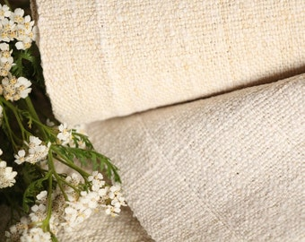 18 : antique handloomed 4.69yards french 리넨 two-toned upholstering curtain projects wedding Natural Creamy