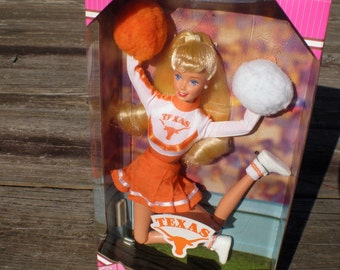 Vintage Barbie Doll, 1996 Cheerleader Barbie, University of Texas, Collectible Barbie Doll, Mattel Toy Barbie Doll