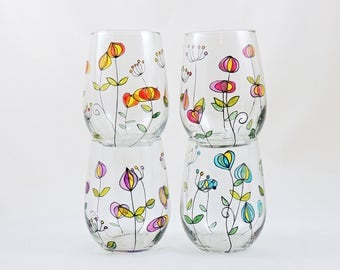 Floral wine glass - Hand painted stemless wine glass