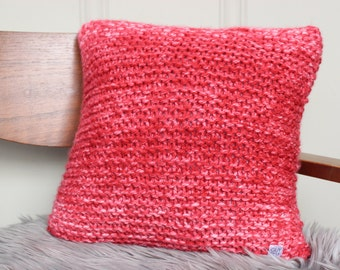 CLEARANCE Hand Knit Throw Pillow in Red Splash - Valentine's Day Decor - Accent Pillow - Cushion - Decorative Pillow
