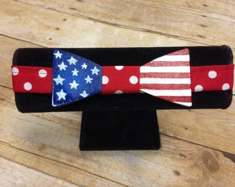 Hand Painted American flagWood Bow Tie , Derby Bow Tie, neck wear, mens tie