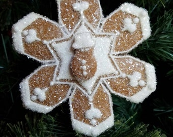 Christmas Ornament Snowflake Gingerbread 3D Gift Ready To Ship Garland Decoration
