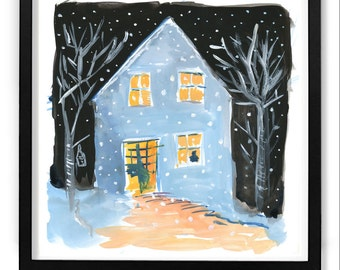 Hygge Art / Wall art / Original painting / winter home in snow / koselig home, cozy home / 8x8 /Gouache painting / hygge / original painting