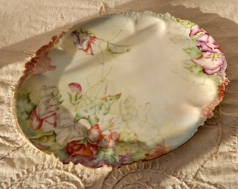 French Limoges Porcelain Dresser Tray/Vintage c. 1910s 20s/Handpainted Floral Decorated Oval Tray