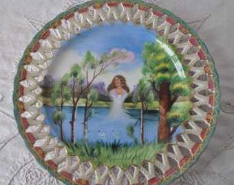 Surrealistic Hand Painted China Plate/Vintage 1950s/Pierced Decorative Plate/Women's Head With Swans on Lake/Occupied Japan
