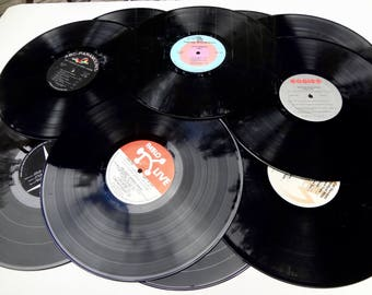 Lot of 16 Vintage Vinyl Record Albums Jazz & Rock For Crafting Repurposing Upcycling Wall Decor Some Playable