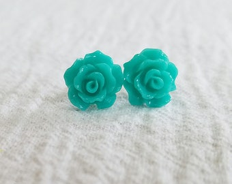 Small Turquoise Open Rose Beautiful Bloom Flower Earrings